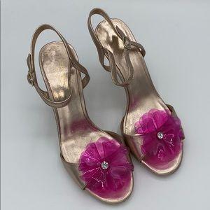 NWOT kate spade Rose Gold Giulia Flower Heels